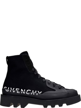 Givenchy Clapham Combat Boots In Black Canvas