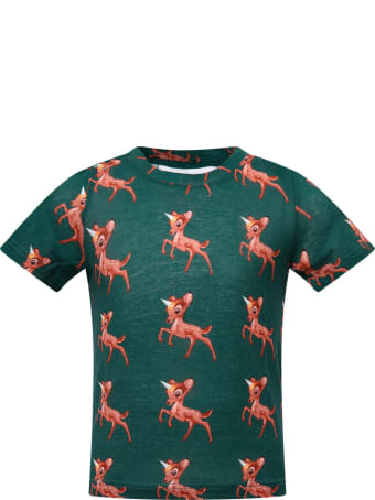 Caroline Bosmans Green T-shirt With Bambi