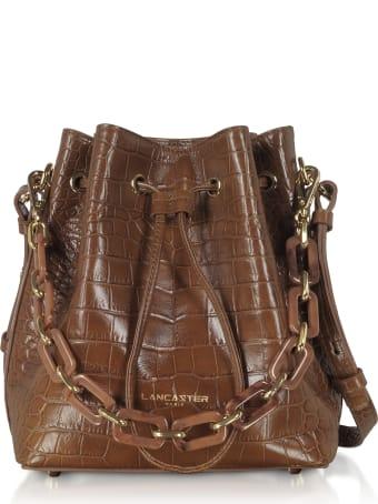 Lancaster Paris Exotic Croco Embossed Leather Bucket Bag