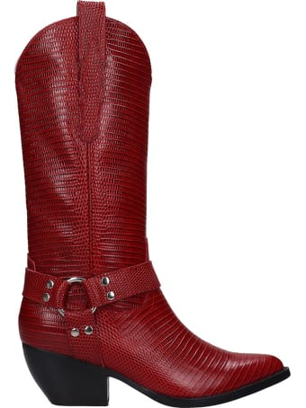 Jeffrey Campbell Armon Low Heels Boots In Red Leather