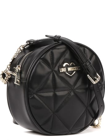 Love Moschino Black Round Quilted Faux Leather Bag