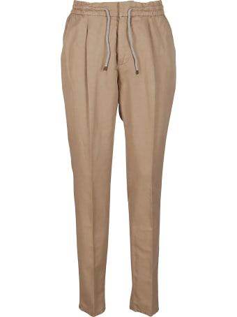Brunello Cucinelli Beige Linen-cotton Blend Trousers