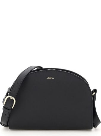 A.P.C. Demi Lune Saffiano Print Leather Crossbody Bag