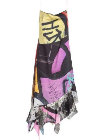 Marques'Almeida Dress Thin Strap Printed Satin W/peplum