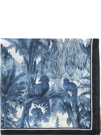For Restless Sleepers Blue Floral Patterned Foulard