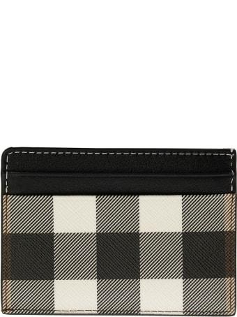 Burberry Check E-canvas And Leather Card Case Kier Dark Birch Brown