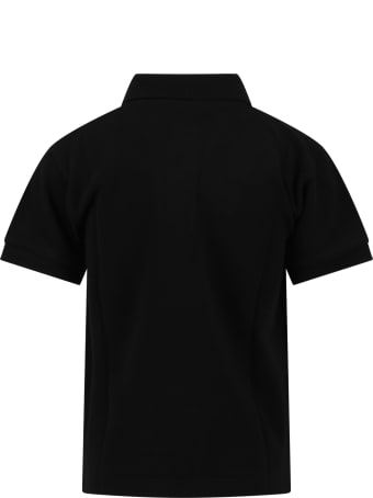 Comme des Garçons Play Black Polo T-shirt For Kids With Logo