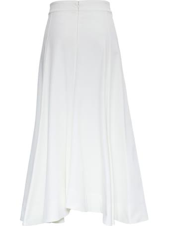Jil Sander Long Flared White Skirt