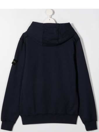Stone Island Junior Blue Jersey Hoodie With Logo Patch