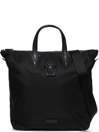 Versace Medusa-head Tote Bag In Black Nylon