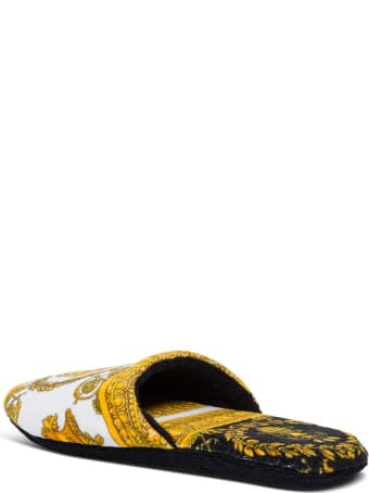 Versace White Baroque Slippers