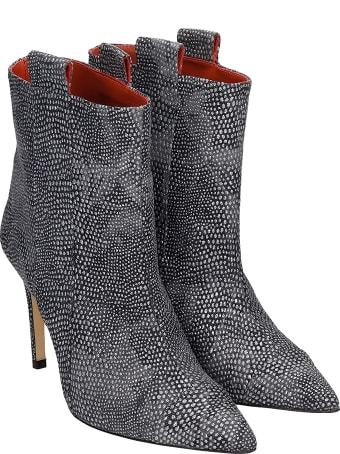 Bams High Heels Ankle Boots In Black Leather