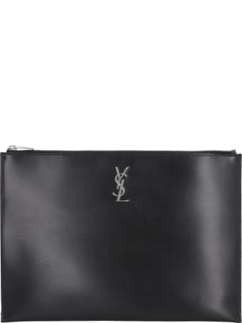 Saint Laurent Leather Flat Pouch