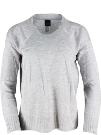 Lorena Antoniazzi Long-sleeved Crewneck Sweater With A Soft Line And Longer Back