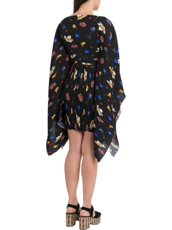 Solace London Chanton Floral-print Plissé-crepe Dress