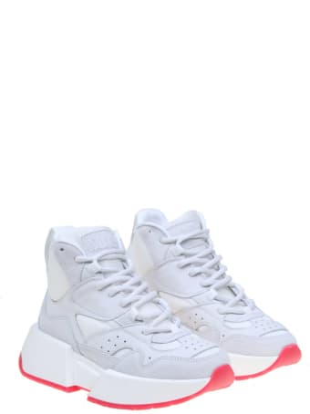 MM6 Maison Margiela Leather Sneakers And White Fabric