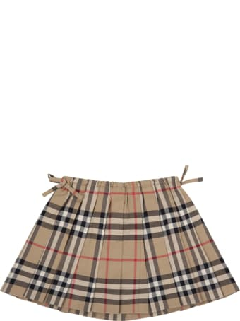 Burberry Beige Skirt For Baby Girl With Check