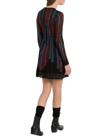 M Missoni Striped Multicolour Midi Dress In Lurex Knit