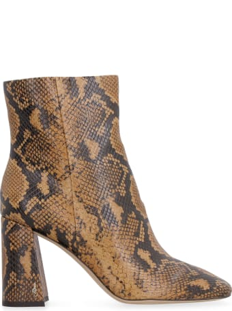 Sam Edelman Codie Snakeskin Print Heels Ankle Boots