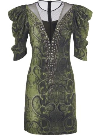 John Richmond Green Pyton Print Dress