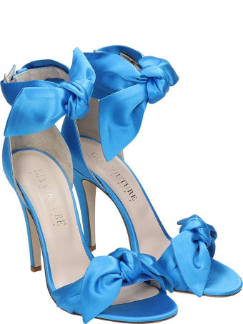 GIA COUTURE Sandals In Cyan Satin
