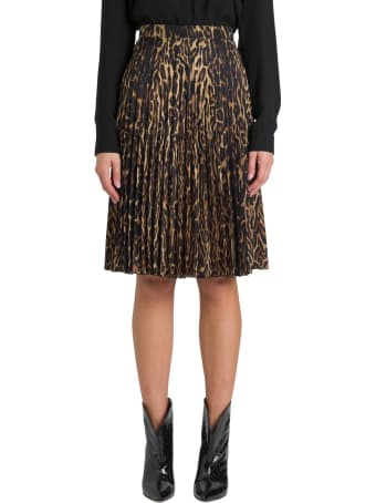 Burberry Pleated Midi Skirt With Leopard Print Motif