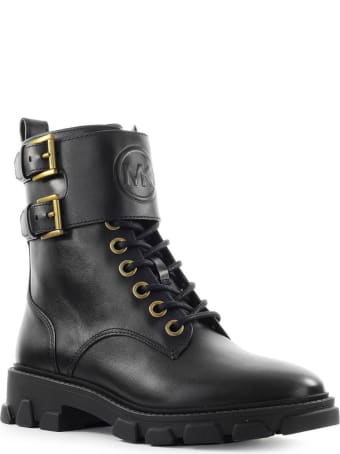 Michael Kors Ridley Black Leather Combat Boot