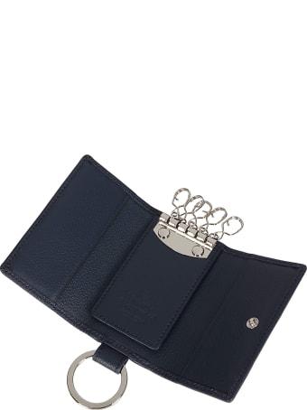 Vivienne Westwood Navy Blue Leather Keyring