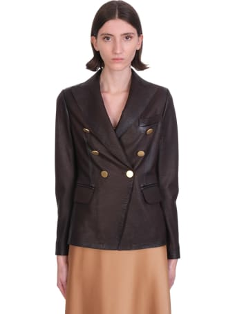 Tagliatore 0205 Lizzie  Blazer In Brown Leather