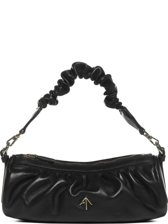 MANU Atelier Ruched Cylinder Leather Bag