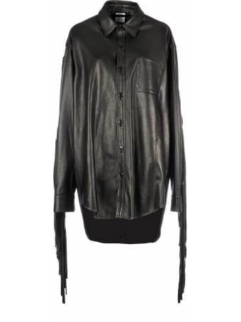 VETEMENTS Leather Shirt With Fringes