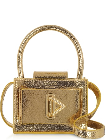 Salar Loulou Crackle Gold Leather Top Handle Bag