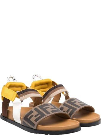 Fendi Sandals With Logo Texture