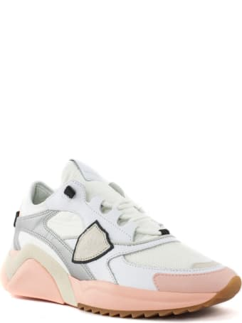 Philippe Model White And Pink Eze Mondial Sneakers