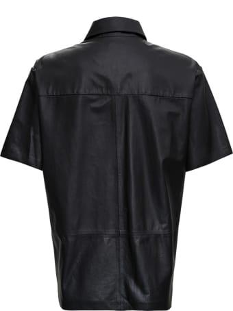 Trussardi Short Sleeved Shirt In Black Leather