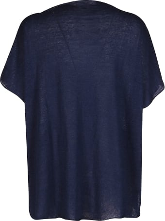 Ma'ry'ya Navy Blue Linen-cotton Blend T-shirt