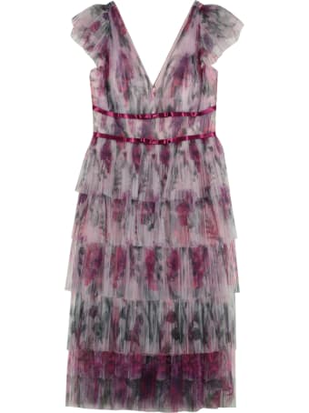 Marchesa Notte Printed Organza Gown