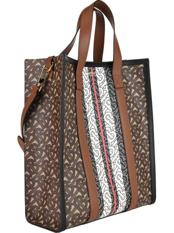 Burberry London Vertical Tote Bag In E-canvas With Striped Monogram Print