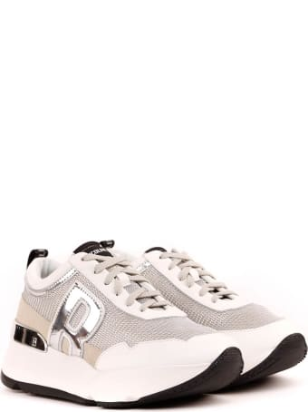 Ruco Line Grey And Silver Sneakers In Lurex Fabric And Leather