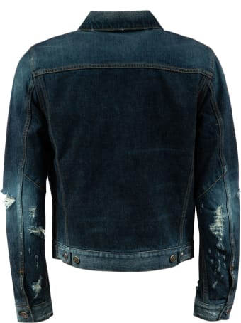 Balmain Distressed Sleeves Denim Jacket