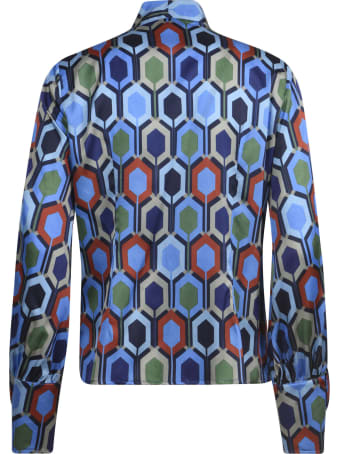 Eddy Monetti Printed Bow Silk Shirt