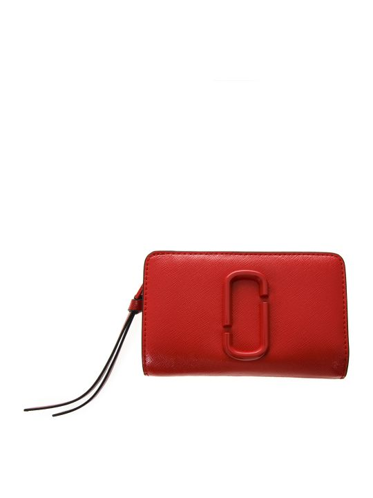 Marc Jacobs Red Leather Embossed Logo Wallet