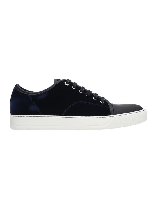 Lanvin Low Top Sneakers In Blue Velvet