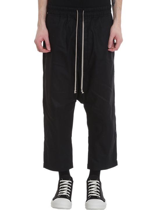DRKSHDW Drawstring Crop Pants In Black Cotton