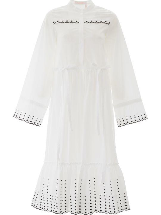 See by Chloé Polka Dot Embroidered Midi Dress