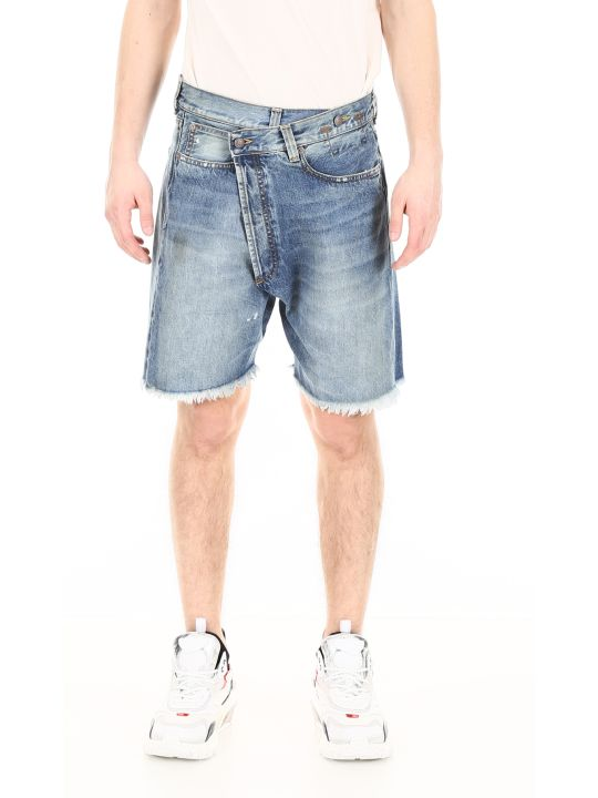 R13 Cross-over Denim Shorts