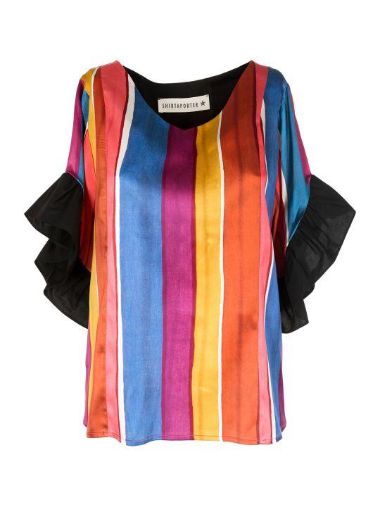 Shirt a Porter Ruffled Stripie Blouse