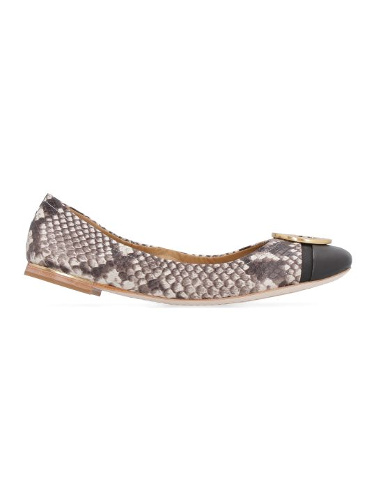 Tory Burch Minnie Snakeskin Print Leather Ballet Flats