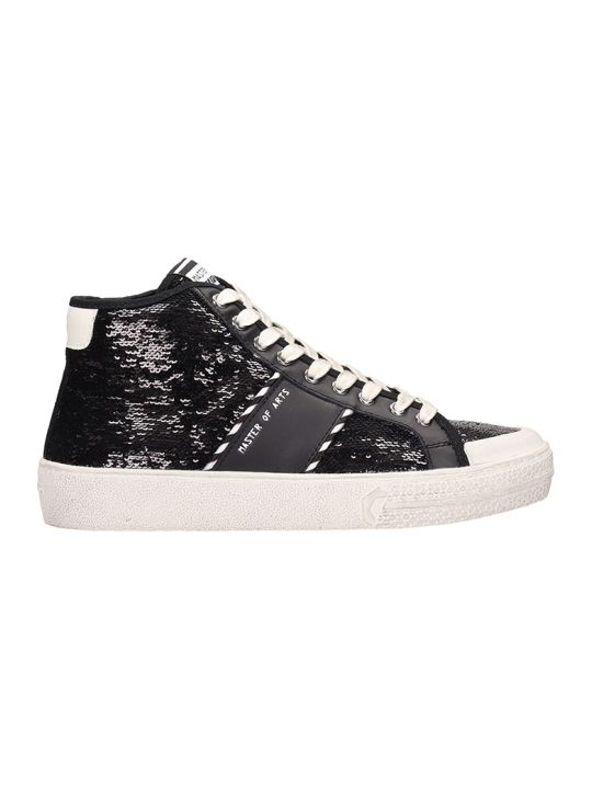 M.O.A. master of arts Black Sequins Mid Sneakers