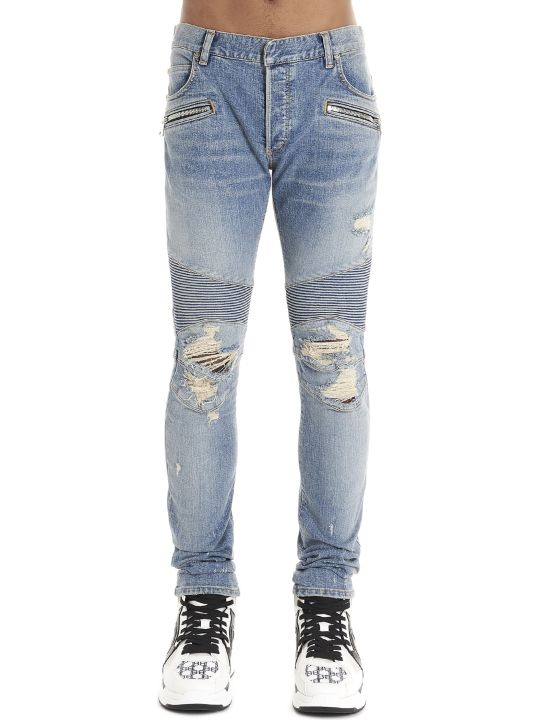 Balmain 'biker Ribbed Slim' Jeans